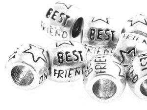 Beads do Rzemienia Best Friend Platyna 9x8mm 1szt