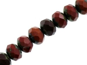 Fire Polished Donuts Beads Brown 6x9mm 10szt