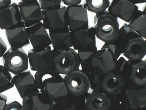 Fire Polished Roller Beads Black 6mm 10szt