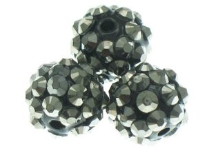 Koraliki do Shamballa Disco Ball Dark Grey 12mm 2szt