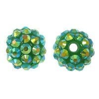 Koraliki do Shamballa Disco Ball Jungle Green 12mm 2szt