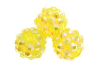 Koraliki do Shamballa Disco Ball Yellow 12mm 2szt