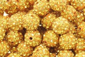 Koraliki Shamballa Disco Ball Gold Orange 10mm 2szt