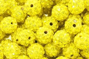 Koraliki Shamballa Disco Ball Sunny Midium Yellow 10mm 2szt