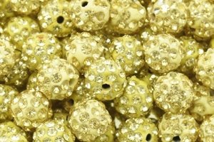 Koraliki Shamballa Disco Ball Yellow Kaszmirowy 10mm 2szt