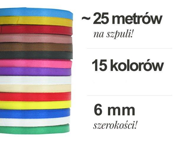 Zestaw Wstążek Tasiemek Satynowych Atłasowych 6mm 10 Szpul Po 25m Mix Kolorów Hit